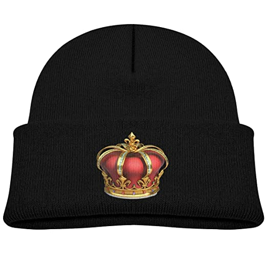 2bce8383406 Kids Knitted Beanies Hat Gold and Red Crown with Diamonds Winter Hat  Knitted Skull Cap for