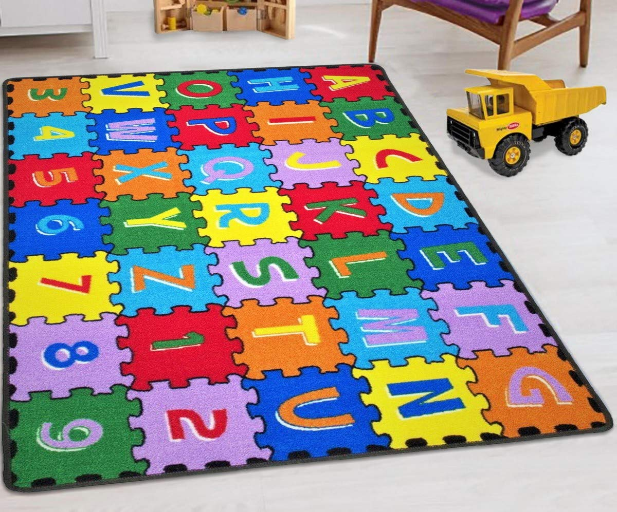 Abc Puzzle HR'S 8FTX11FT Kids Educational Playtime Rug 7FT.4INX10FT.4IN (ABC Shapes) Please Check All Pictures