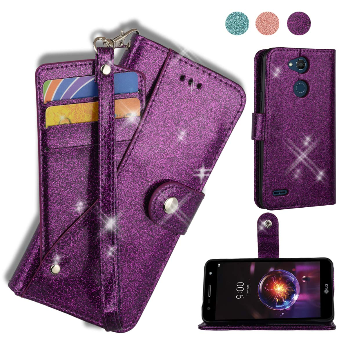AYMECL LG X Power 3 Wallet Case,LG X Power 2/LG X Charge/LG K10 Power/Fiesta 2 LTE Case[Glitter Sparkly Style] Leather Kickstand Card Slots Case with ID and Credit Card Pockets for LG LV7-PT Purple