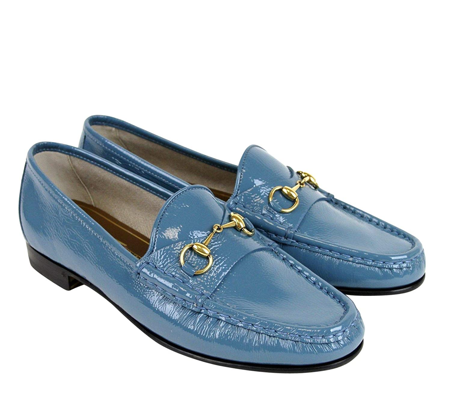 722dff0f8 Amazon.com: Gucci Soft Patent Blue Leather Horsebit Loafer 338348 4400:  Shoes