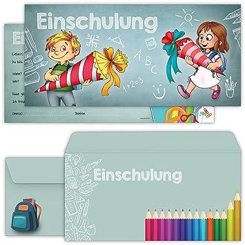Einschulung Einladungskarten Mit Umschlägen (12er Set) Zum Schulanfang |  Liebevoll Gestaltete Einladungen Für Kinder