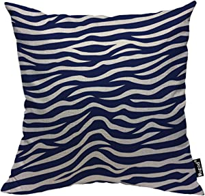 Mugod Wave Stripe Throw Pillow Case Animal Zebra Print Stripes Navy Blue and White Decorative Cotton Linen Square Cushion Covers Standard Pillowcase Couch Sofa Bed Men/Women 18x18 Inch