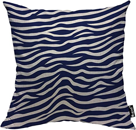 Amazon Com Mugod Wave Stripe Throw Pillow Case Animal Zebra Print Stripes Navy Blue And White Decorative Cotton Linen Square Cushion Covers Standard Pillowcase Couch Sofa Bed Men Women 18x18 Inch Home Kitchen