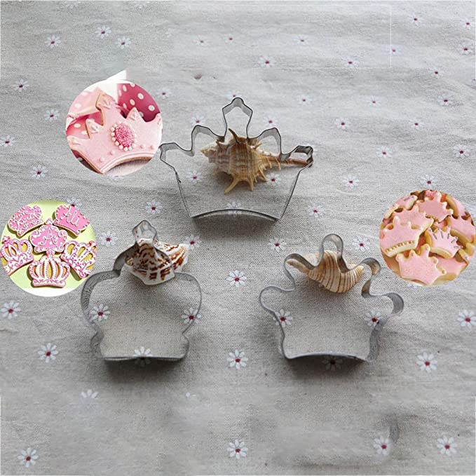 molyveva 3pcs único Príncipe Princesa corona Cookie Cutter Cake Molde DIY de acero inoxidable, color plateado: Amazon.es: Hogar