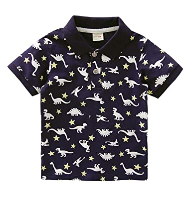 389a93bae Coralup Little Boys Cotton Polo Shirts Kids Short Sleeve Dinosaur T-Shirt  Summer Tops for Toddler (Black Grey White 12Months-6Years): Amazon.co.uk:  Clothing