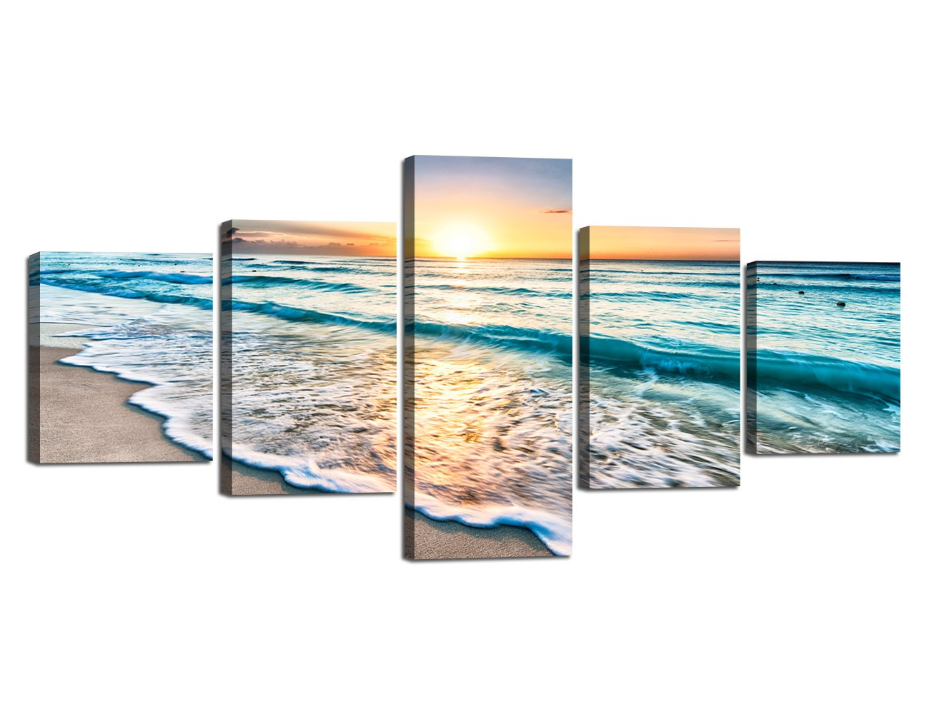 Ocean_13 Small Size Scene of Sea Waves Palm Tree Landscape Picture Modern Painting on Canvas 5 Piece Framed Wall Art for Living Room Bedroom Kitchen Home Decor Stretched Gallery Canvas Wrap Giclee Print (60''W x 32''H)