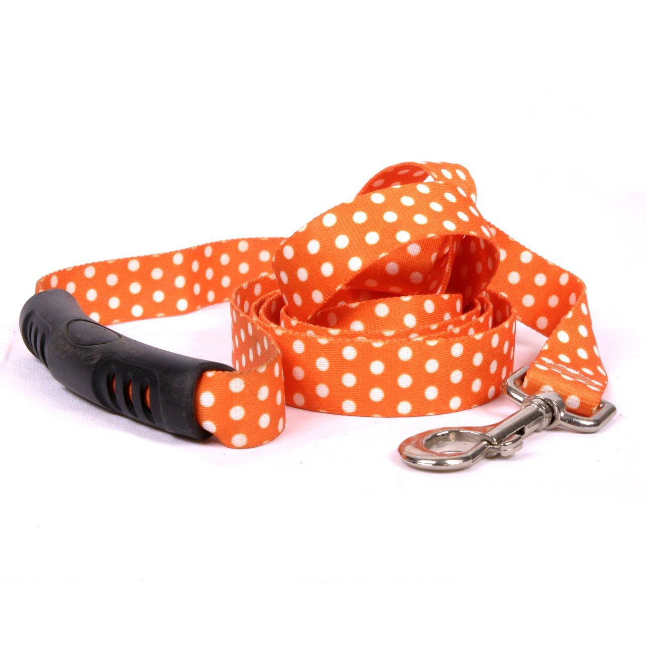 Yellow Dog Design Orange Polka Dot EZ-Grip Dog Leash with Comfort Handle, Large-1'' Wide and 5' (60'') Long