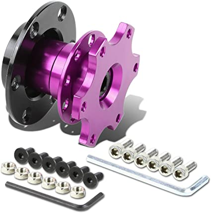 6-Hole Pull Ball Bearing Style 2 inches Thick Steering Wheel Short Quick Release Hub Adapter Purple