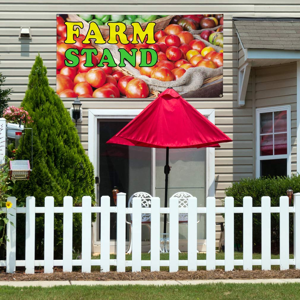 8 Grommets Vinyl Banner Sign Farm Stand Business Fruit Stand Outdoor Marketing Advertising Red One Banner Multiple Sizes Available 48inx96in