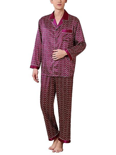 Feoya - Hombre Ropa de Noche de Satén Estampado Cuadros Ropa de Dormir Elegante Retro Camisón