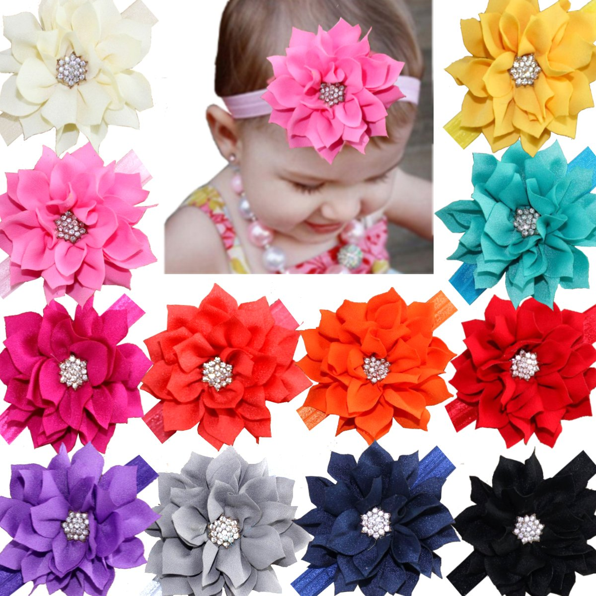 About the product Material fabric material flower with sparkly rhinestone c829f95e7e65