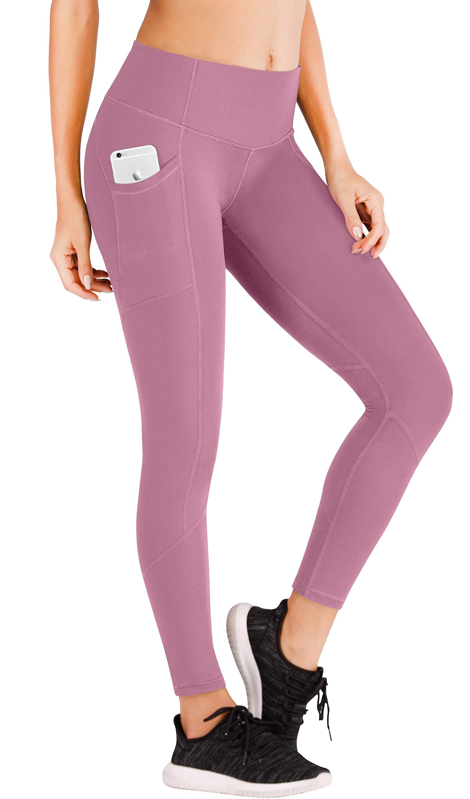 Ewedoos Yoga Pants with Pockets for Women Ultra Soft Leggings with Pockets High Waist Workout Pants (7340 Pink, XX-Large) by Ewedoos