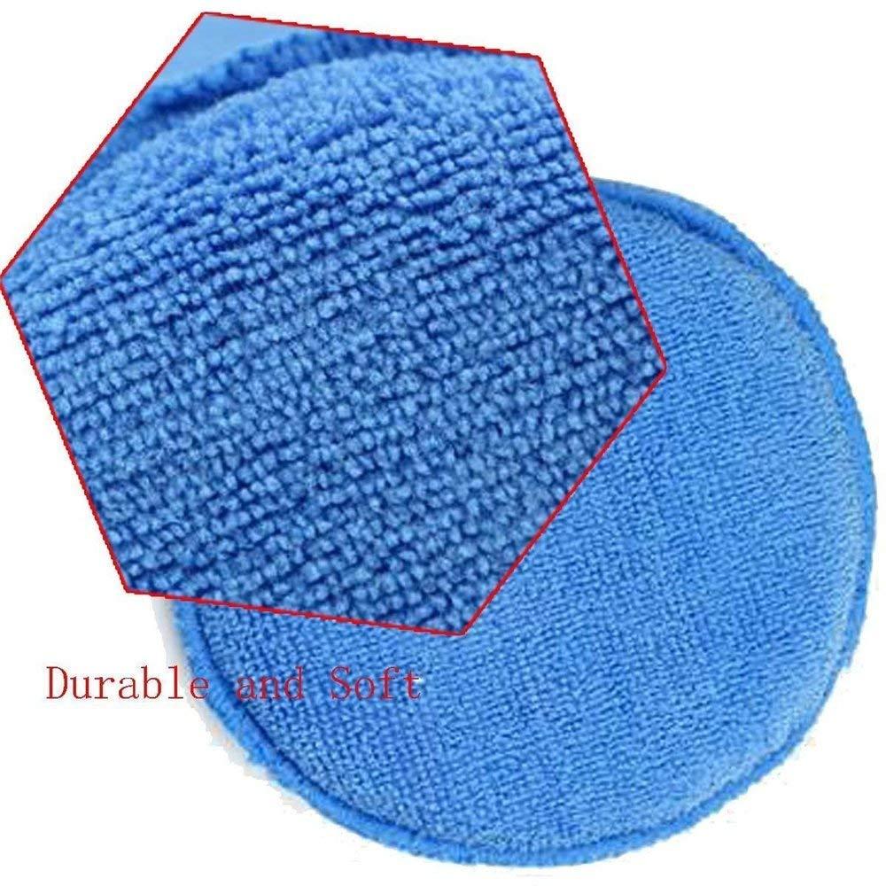 CXUKUN Microfiber Applicator Pads Car Cleaning Polishing Waxing Foam Sponge Microfiber Vehicle Wax Applicator Washing Cleaner Pad, Blue - 10 Pack