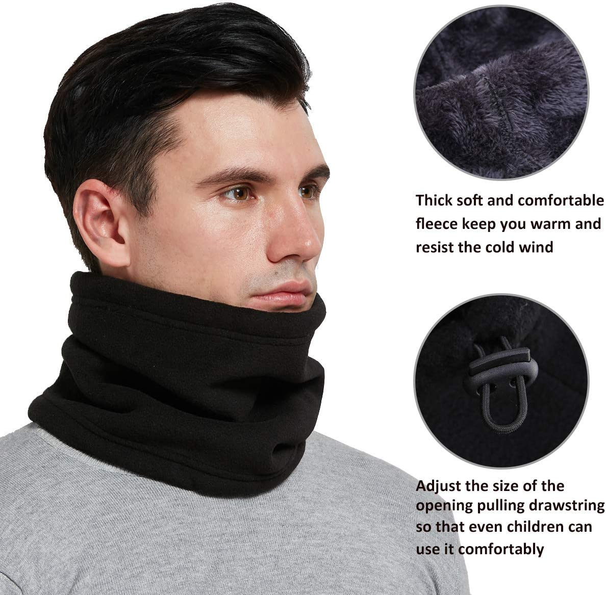 Mojing Men /& Women Fleece Neck Warmer Windproof Snood Winter Thermal Neck Gaiter Tube for Cycling Motorcycle Ski Face Mask