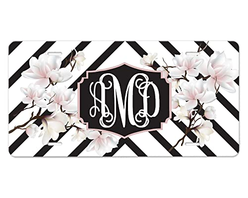 Floral and Stripes MonogramName License Plate and Car Cup Coasters set