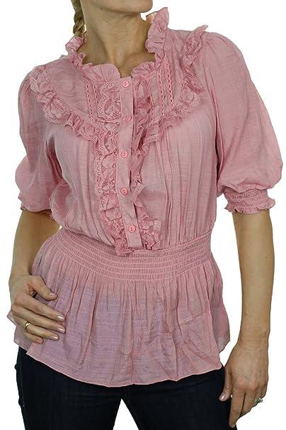 ICE (4058-3) Camisa rosada elegante textura Gloss con ¾ mangas y Chorrera