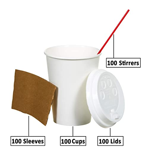 Safeware 16 oz [ 100 Set] Togo Disposable White Paper Coffee Cups with Lids, Sleeves, and Stirrers | Hot Beverages | Expresso | Tea | Coffee | Latte | ...