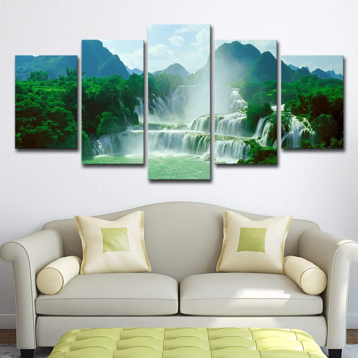 DYDONGWL Multi Panel Lienzo HD Imprime Imágenes para Arte la de la Pared de la Arte Sala 5 Piezas Pinturas Detian Cascada Paisaje Sala de Arte Sala de Estar Decoración del hogar, 40X60cmX2 40X80cmX2 40X100c 44ee4b