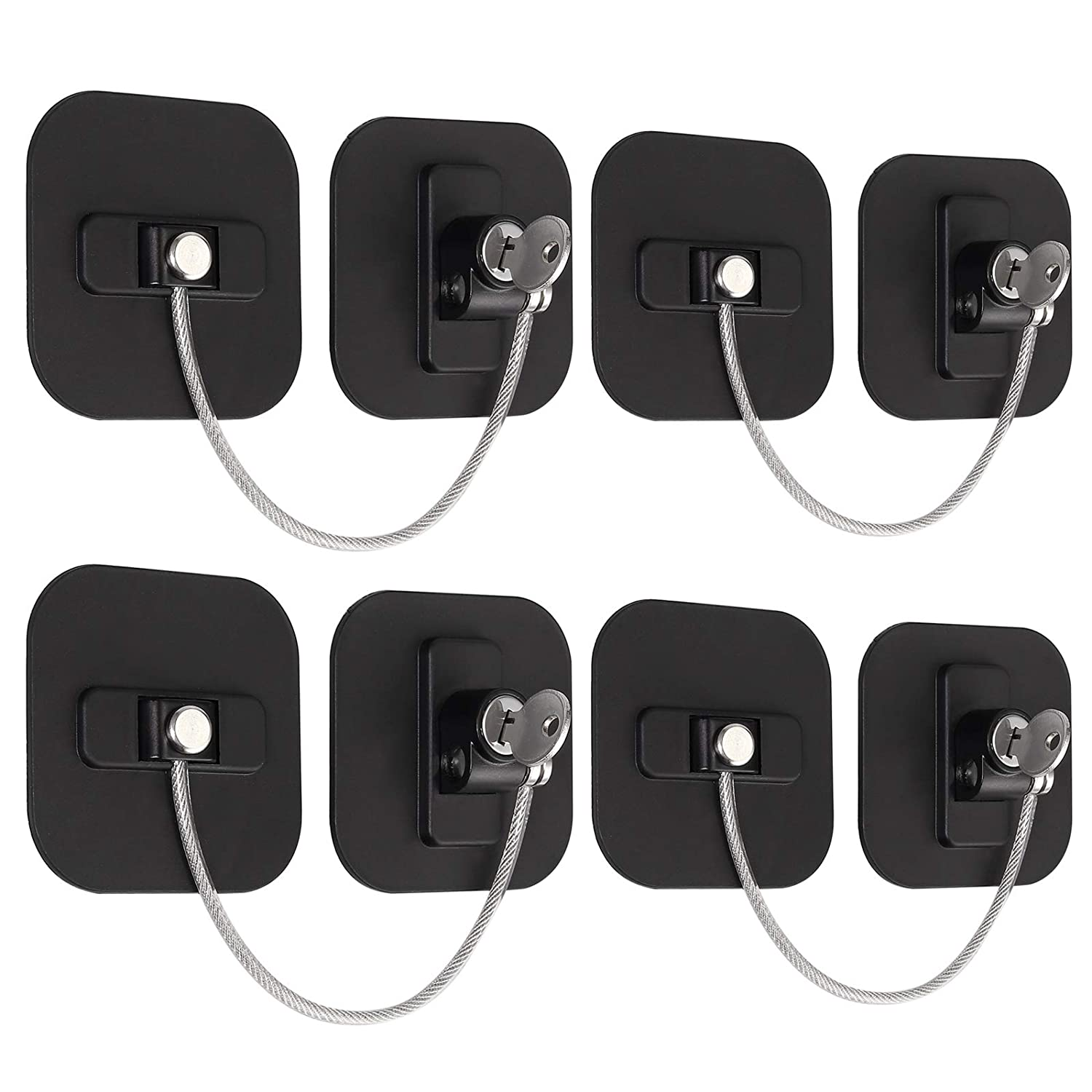 eSynic Refrigerator Locks, 4 Pack Fridge Lock with Keys Child Safety Cabinet Locks with Strong Adhesive Safety Locks Set for Appliances Kitchen Cabinets Fridge Door Refrigerator Cabinet Drawer Black