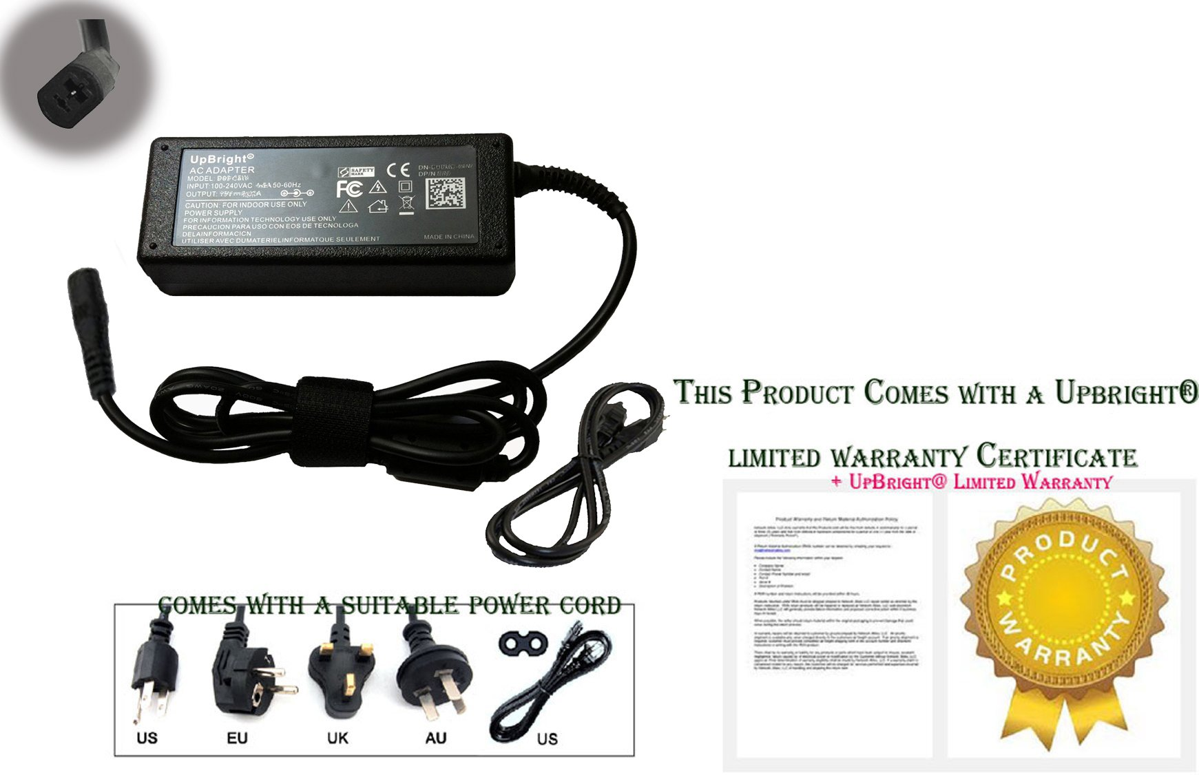 2-Prong AC//DC Adapter For Tranquil Ease IVP2900-2000 Raffel Systems Power Supply
