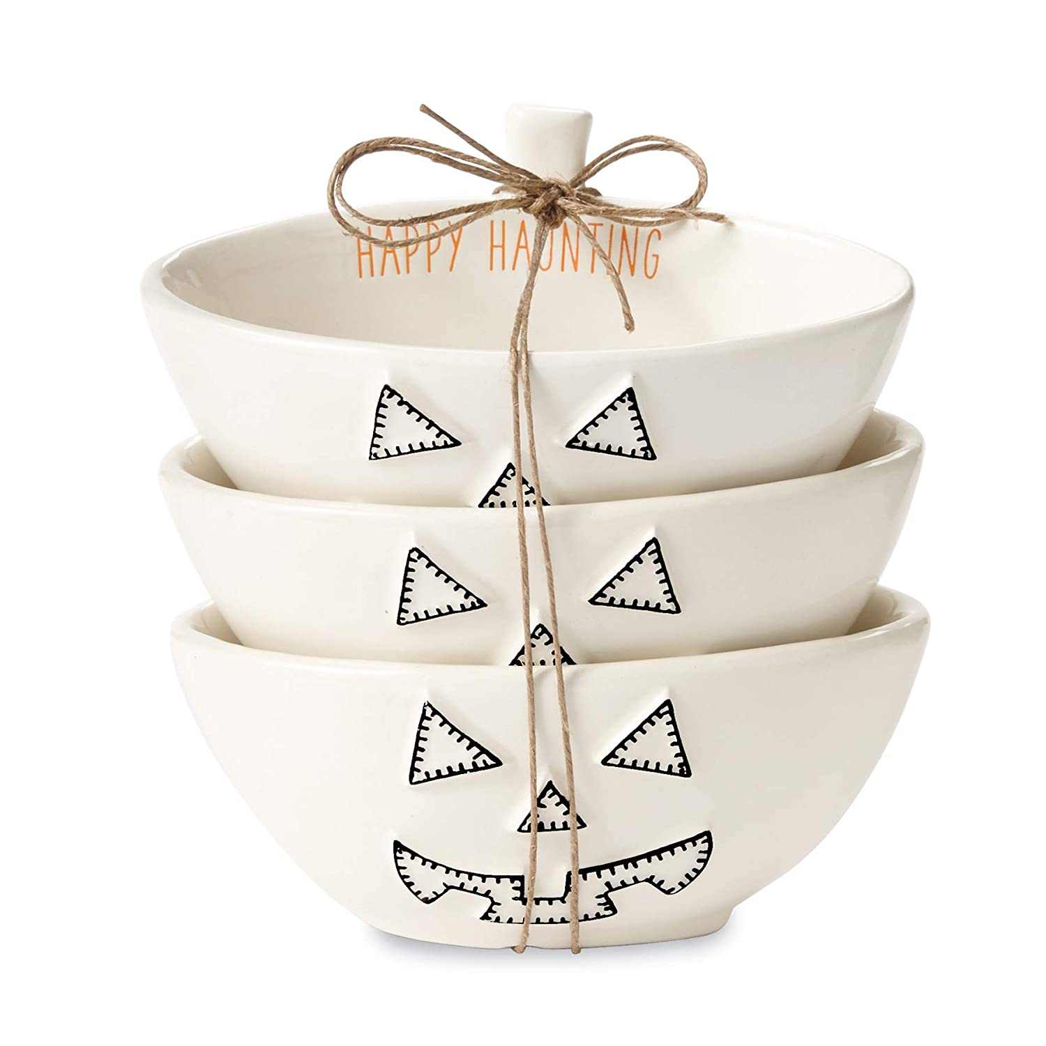 Mud Pie 4855084P Nested Pumpkin Set of 3 Dip Cup Set, One Size, White