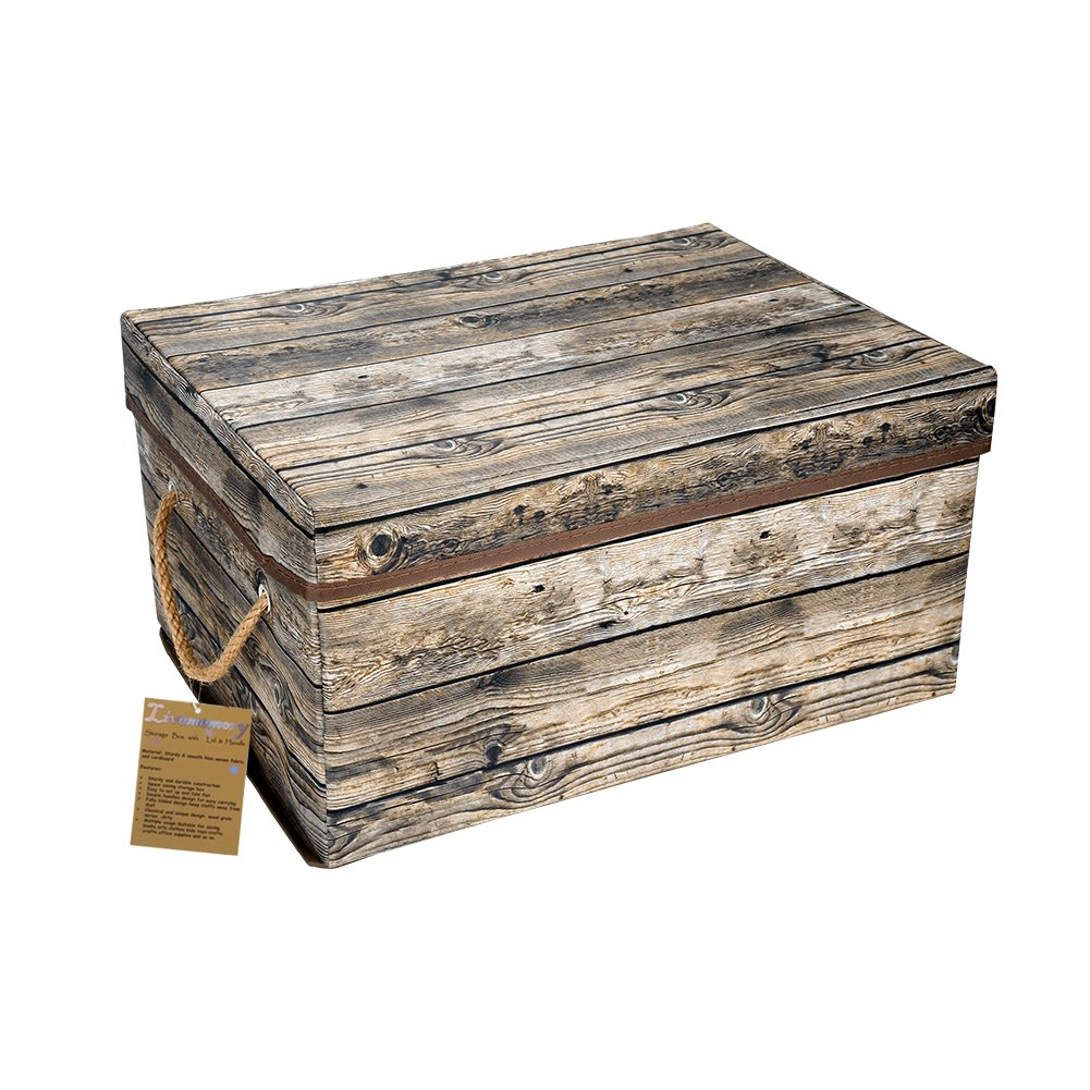 Livememory Storage Box Decorative Storage Bin With Lid And Handles For  Office, Bedroom, Closet, Toys ( Fabric Wood Grain Pattern  Not Made Of Wood  ) 1 PACK