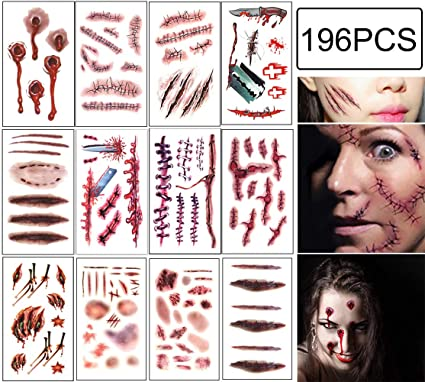 Halloween Scar Tattoos Temporary - Zombie Party Supplies Cosplay Props - Realistic Bloody Makeup Face Decorations