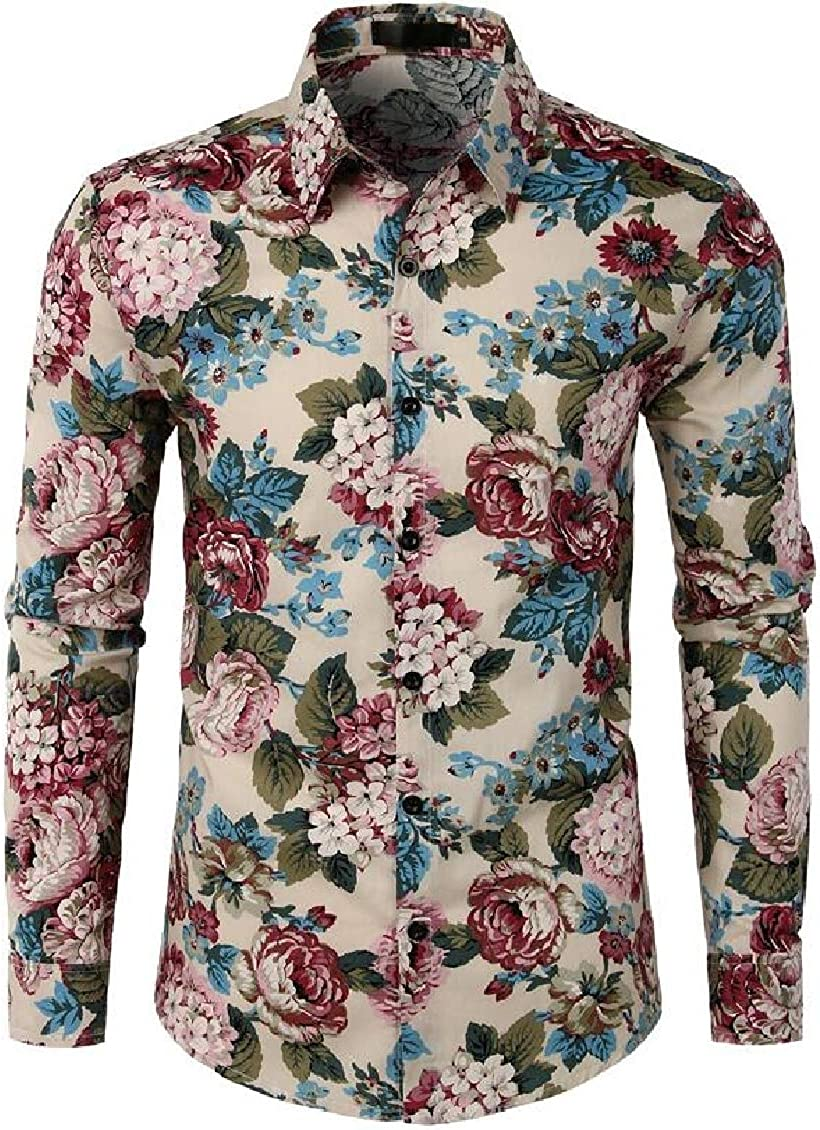 Fubotevic Mens Formal Lapel Baggy Floral Print Fashion Button Down Long Sleeve Shirts