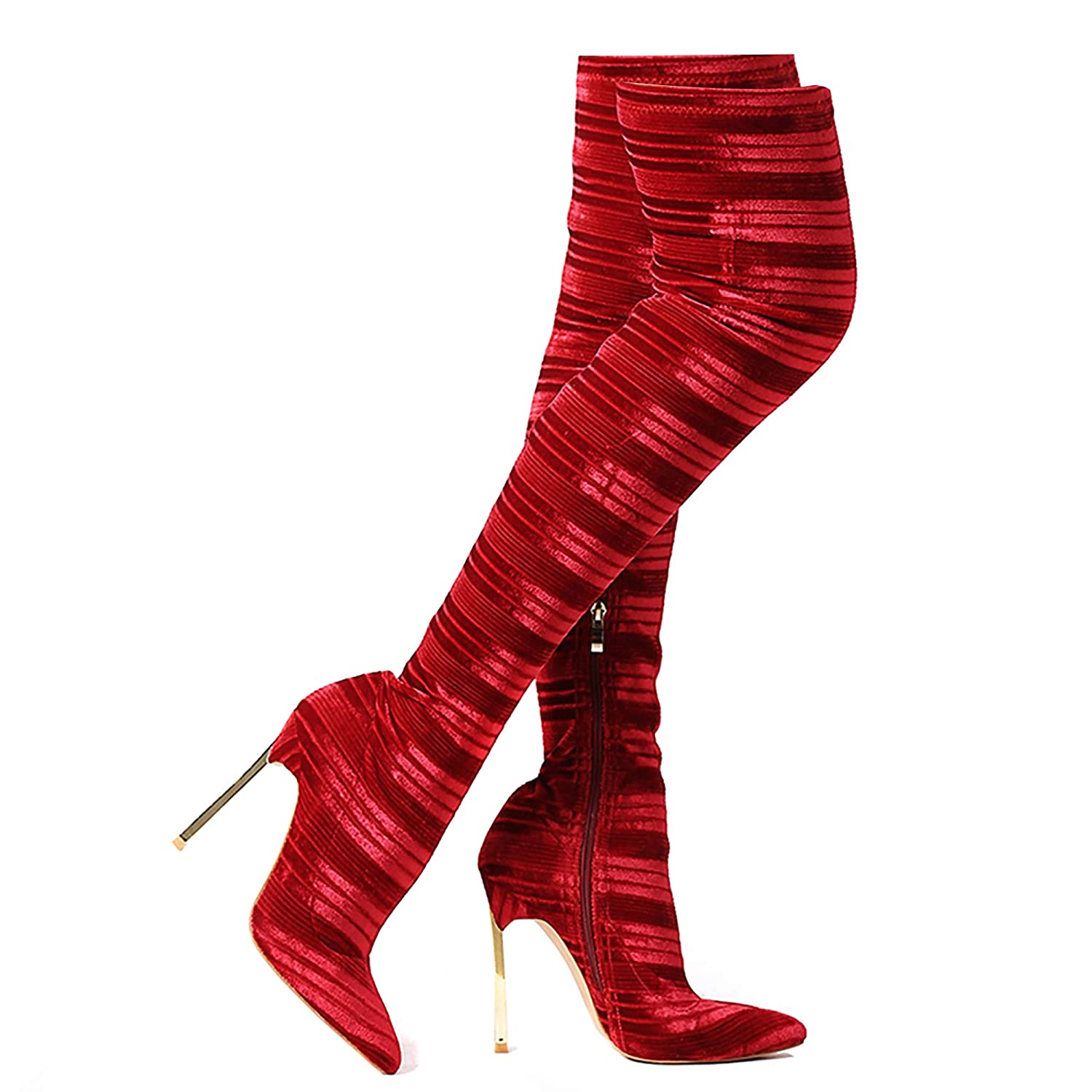 7ec709c163c Shoe'N Tale Women's Trendy Pointy Toe Sexy Stiletto Heel Stretchy Velvet  Rib Over The Knee Thigh High Boots