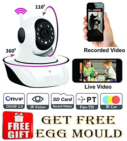 Wireless HD IP Wifi CCTV [Watch ONLINE DEMO right now] indoor Security Camera Model:D8810 with free stainless steel egg mould inside gift.. Trail & Game Cameras at amazon