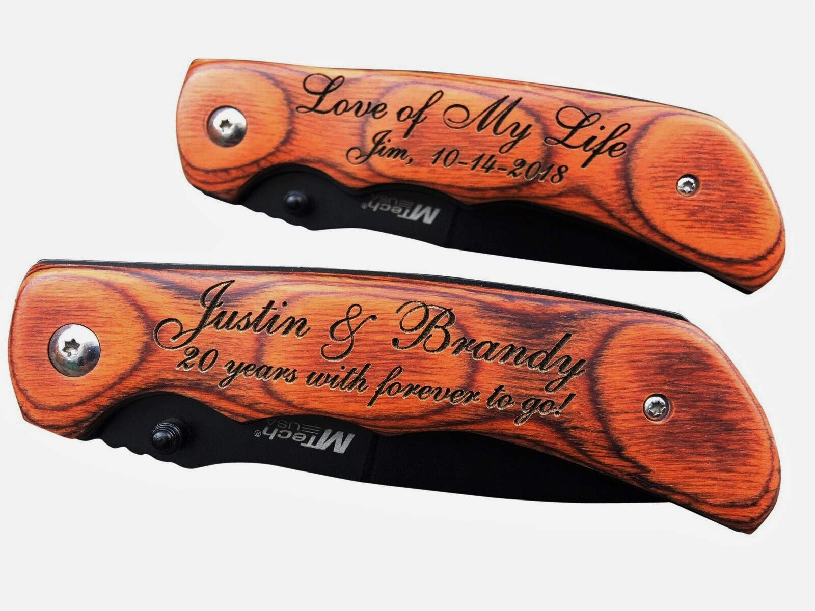 Personalized Engraved Wood EDC Pocket Knife Groomsman Best Man Wedding Party Contour Grip by MTech