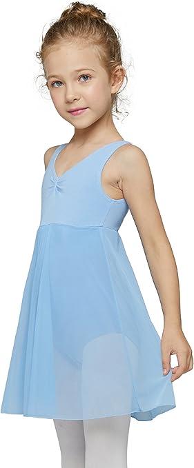 Mdnmd Girls' Tank Leotard Dress (Tag 110) Age 2-4, Blue)