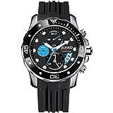JIUSKO Men's 71LSB1302 Deep Sea Series Quartz Chronograph 300m Silicone Dive Black Watch