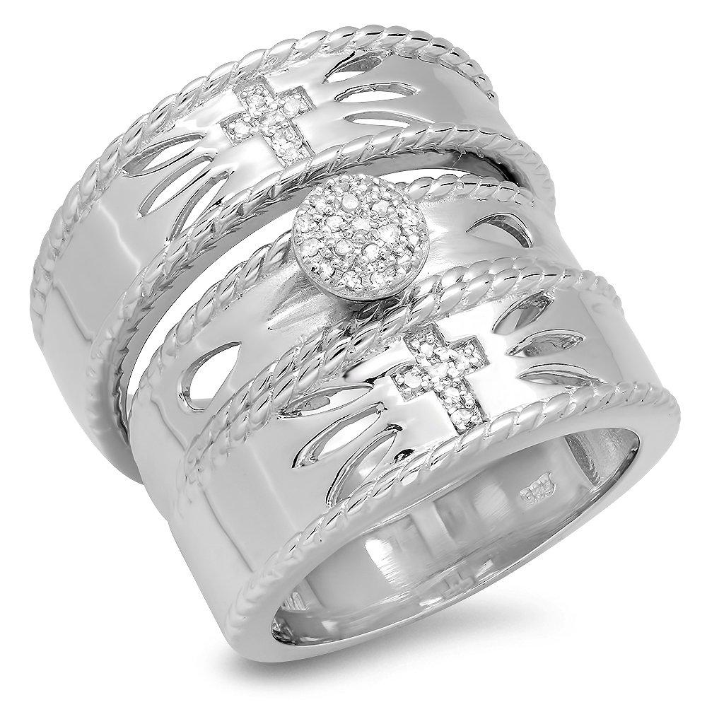 0.15 Carat (ctw) Sterling Silver Round Diamond Men & Women's Vintage Cross Design Ring Trio Bridal Set