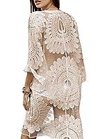 shermie Women's Floral Crochet Lace Beach Swimsuit Cover UPS Long Vintage Kimono Cardigan