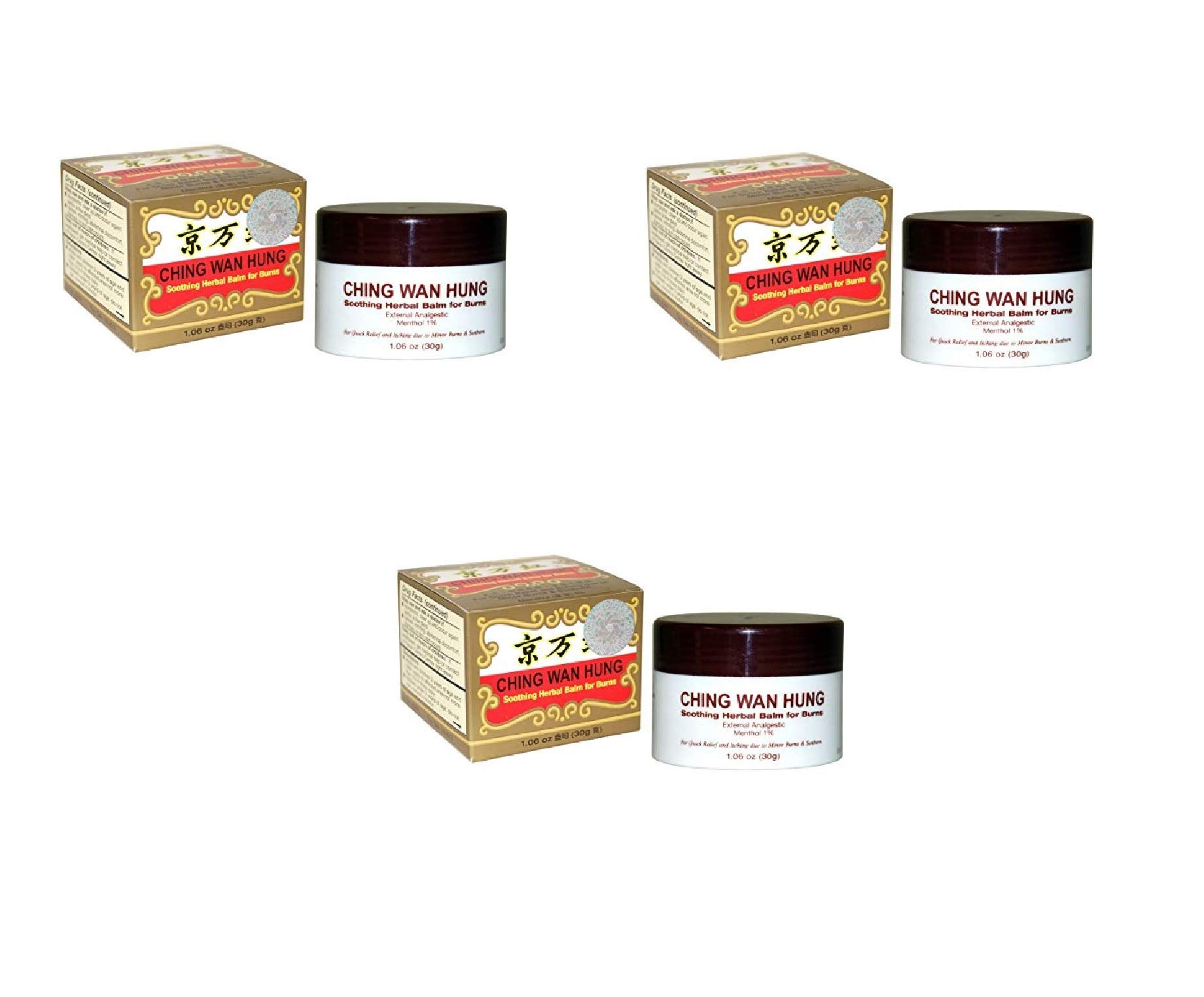 Ching WAN Hung - Soothing Herbal Balm (1.06 Oz/30 Gram) (3 Pack)