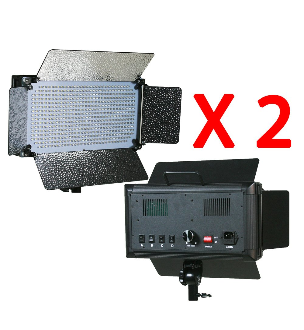 ePhotoInc 2 x 500 LED Light Panels Photography Video Studio Lighting Panel with Filters and Dimmer Switch 500SDx2 by ePhoto