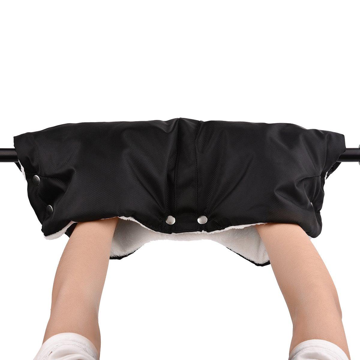 Upgrow Outdoor Baby Pushchair Pram Stroller Hand Muff Winter Anti-freeze Thick Gloves Mittens Soft Hand Warmer Windproof Gloves Baby Carriage Cart Mitten Hand Muffs (Black)
