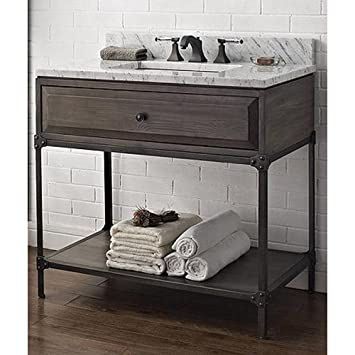 36 bathroom vanity combo white designs inch open shelf driftwood gray cabinet only with mirror