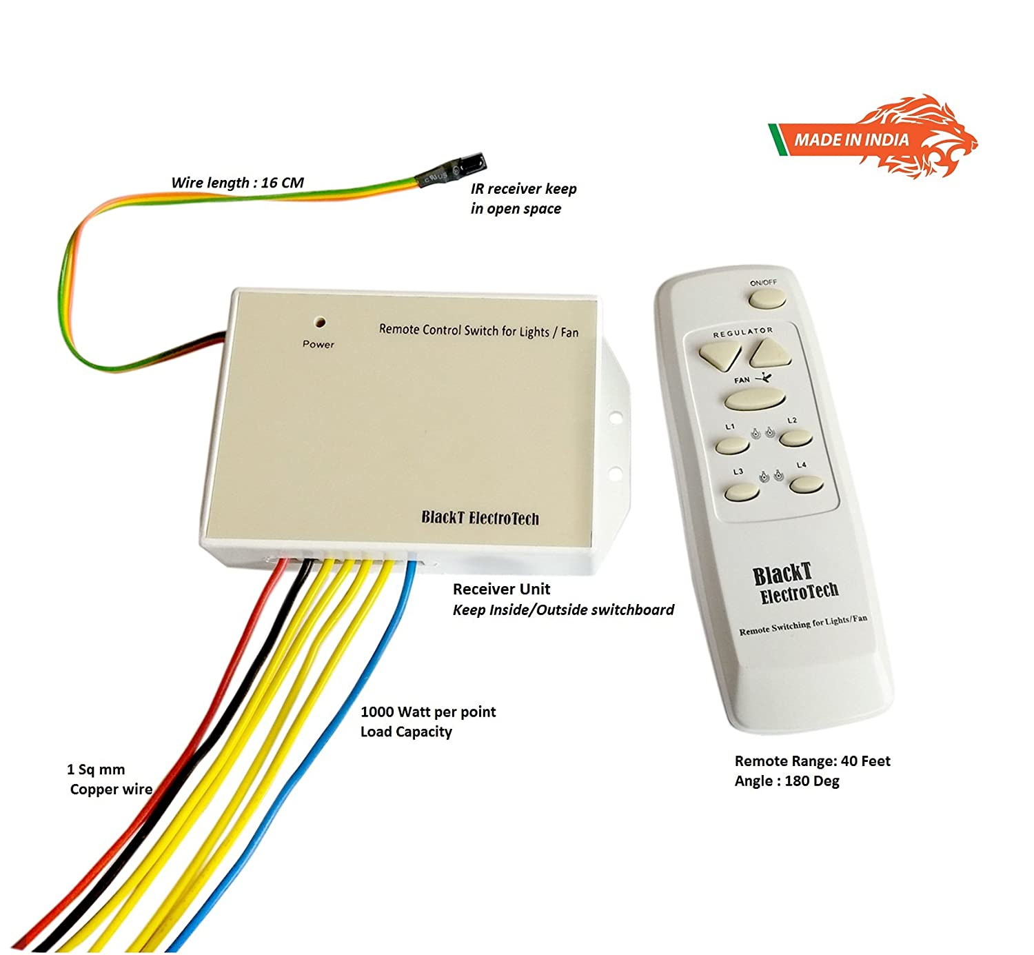 Blackt Electrotech Wireless Remote Control Switch System For 4 Fan Cycle Wiring Diagram Lights 1 With Speed Regulation Dimmer Humming Less Made In India Copper