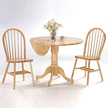 International Concepts 3 Piece 42 Inch Dual Drop Leaf Pedestal Table With 2  Windsor