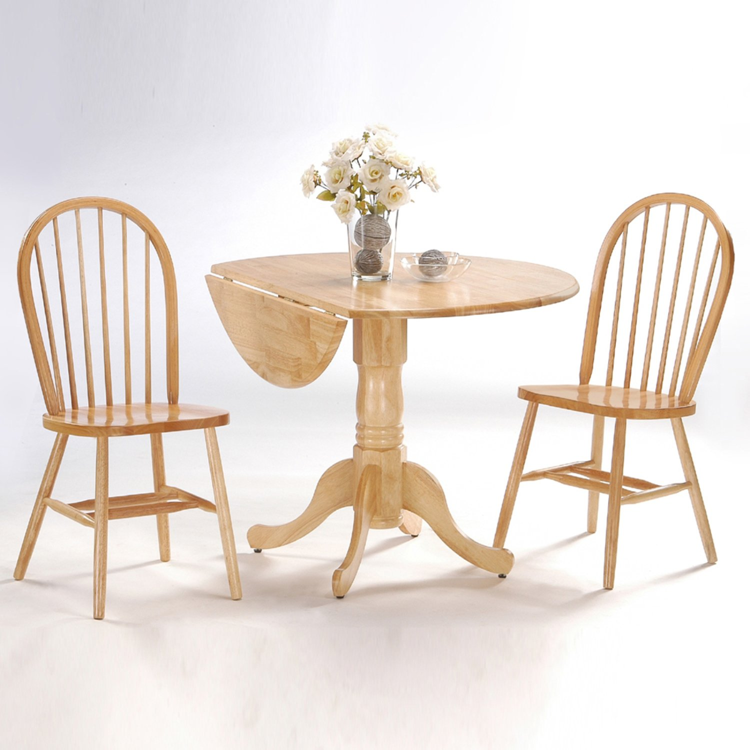 International Concepts 3-Piece 42-Inch Dual Drop Leaf Pedestal Table with 2 Windsor Chairs, Natural Finish by International Concepts (Image #1)