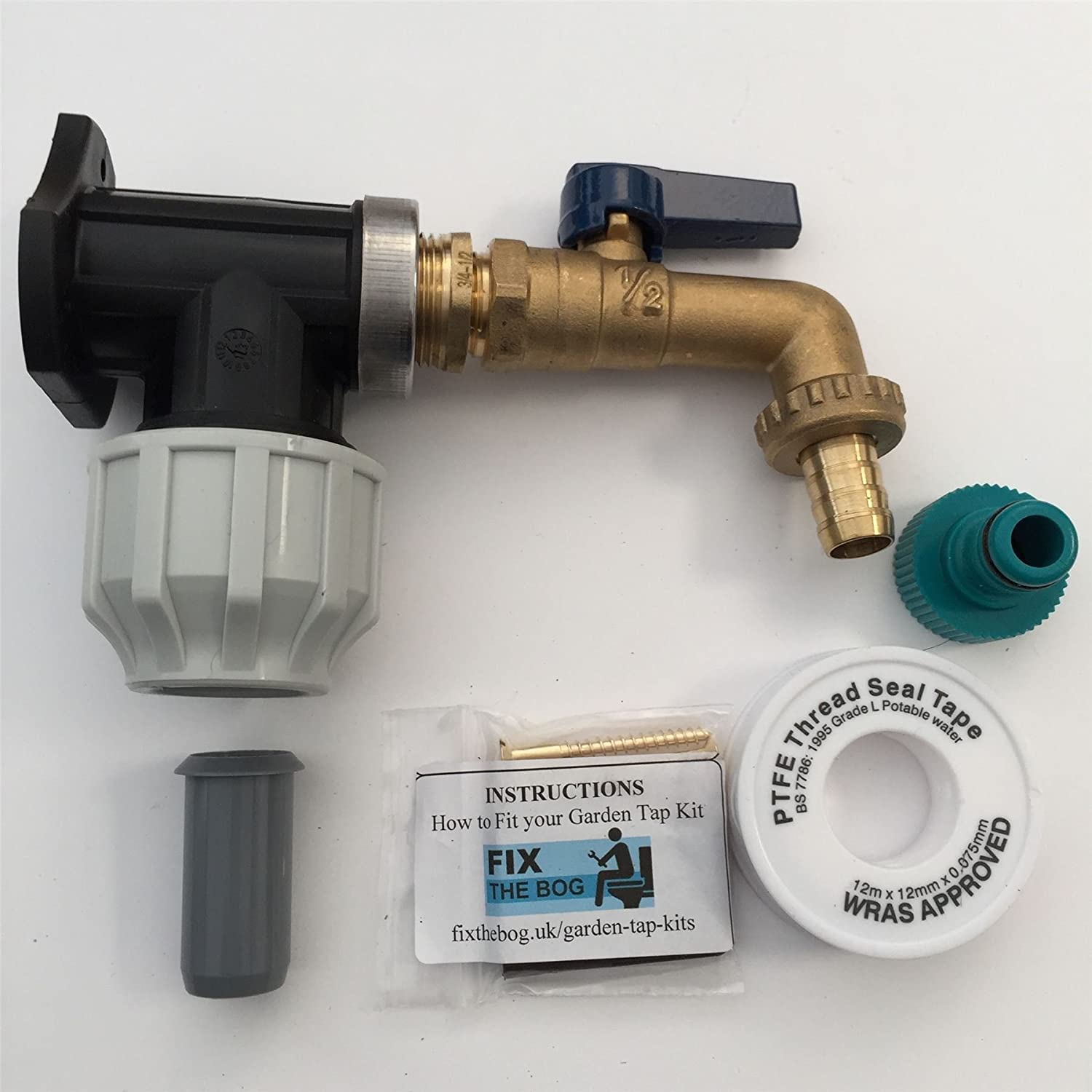FixtheBog 25mm MDPE Outside Tap Kit With Plastic Wall Plate & Garden Hose Fitting lever FixtheDrip