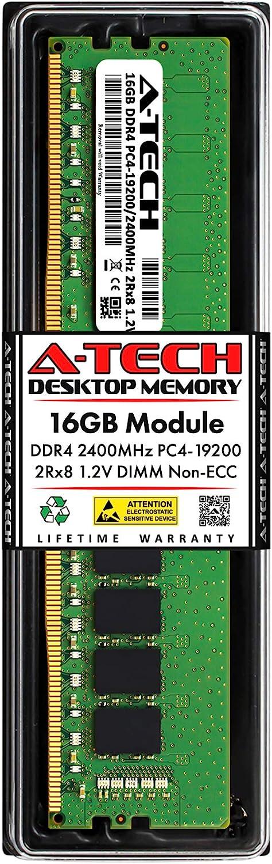 A-Tech 16GB DDR4 2400MHz DIMM PC4-19200 UDIMM Non-ECC 2Rx8 1.2V CL17 288-Pin Desktop Computer RAM Memory Upgrade Module