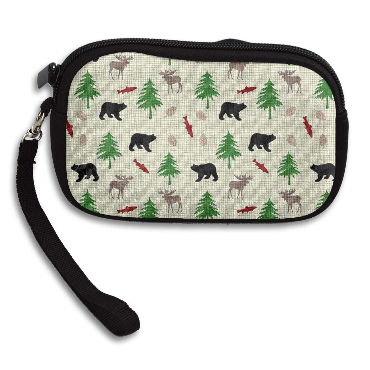 Moose Bear And Trees Pattern Coin Pouch Clutch Purse Wristlet Wallet Phone Card Holder Handbag