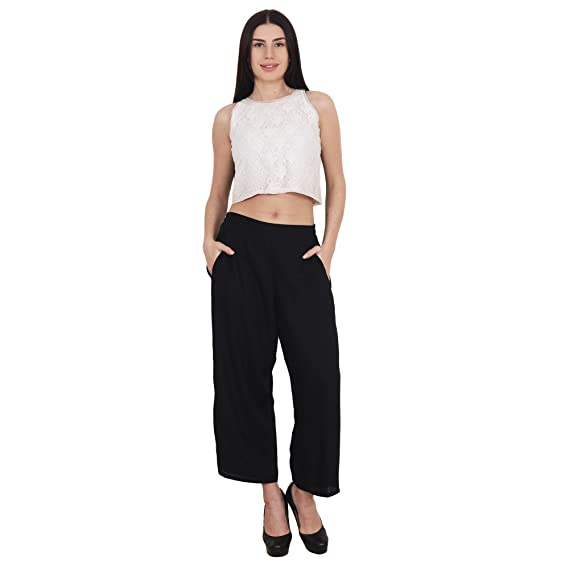 963f67a0a12 SYDA Women s Straight Cropped Pants Palazzo  Amazon.in  Clothing    Accessories