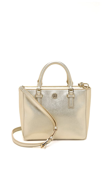 Tory Burch Womens Robinson Mini Square Tote Soft Gold One Size Ronbinson Pebbled Handbags