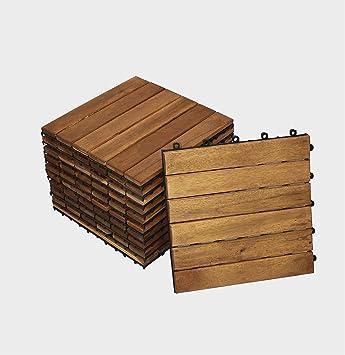 SAM® dalle clic de terrasse en bois d\'acacia, lot de 11 pour env. 1 m²,  dalle de jardin avec 6 lattes, revêtement de sol pour balcon avec structure  ...