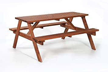 Amazing Brackenstyle Brown Picnic Pub Bench 6 Seater Wooden Garden Patio Table Thick Timbers Dip Treated Gmtry Best Dining Table And Chair Ideas Images Gmtryco