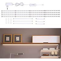 B.K.Licht Tiras LED 4x50cm con cubierta de silicona 12W, blanco frío 4000k, luz para…